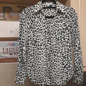 EXPRESS | Long Sleeve Cheetah Print Blouse